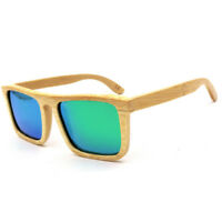 LE Handmade Natural Bamboo Wood Polarized Sunglasses Mirrored Wooden Glasses Hot
