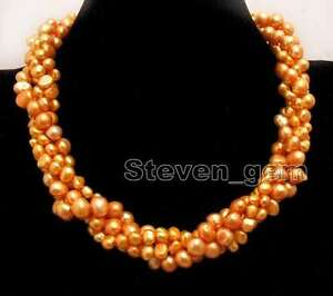 """6mm Baroque White Yellow Pearl Necklace 2 Strand 40"""" Combination 18"""" Set Jewelry"""