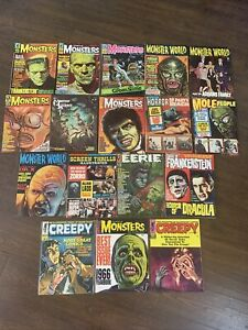 17 Vintage Monster Horror Magazines Eerie Famous Monsters Creepy FN Lot