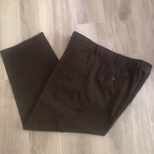 Saddlebred Mens Brown Cotton Blend Flat Front Pants Comfort Waist  Size 42 x 29