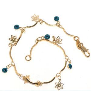 flower charms eye womens bracelet chain bracelet bangle jewelry gold 7.9 inches