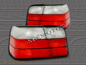 92-98 BMW E36 4DR SEDAN TAIL LIGHTS REAR LAMP RED & CLEAR