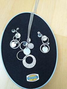 Tolles Schmuckset von FOSSIL echtes Silber Kette und Ohrringe