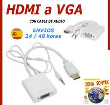 HDMI a VGA . Adaptador con cable. Incluye cable audio. Envios 24/48h (Peninsula)