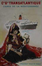"""""""Cie Gle TRANSATLANTIQUE /VILLE DE TUNIS""""Affiche originale entoilée BRENET 1950"""