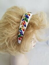 Christmas Headband White Satin with Red Gold Green Blue Sequins Beads Children's