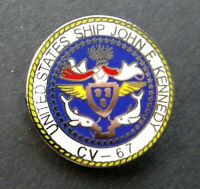 USS John F Kennedy Aircraft Carrier US NAVY USN Lapel Pin Badge 1 inch