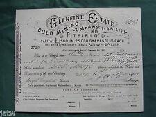 Share Scrip - Mining. 1907 Glenfine Estate Gold Mining Co - Pitfield Vic