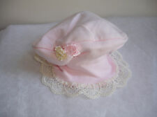 NEW VINTAGE BABY GIRL HAT PINK with FLOWERS can fit REBORN DOLL STUNNING