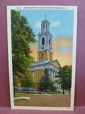 Old Postcard NC  Winston Salem, First Baptist Church