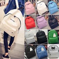 Unisex Boys Girls Canvas Shoulder Bag Backpack Travel Satchel Rucksack Handbag