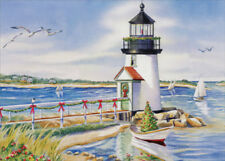 Lighthouse and Beach Nautical LPG Greetings Christmas Card