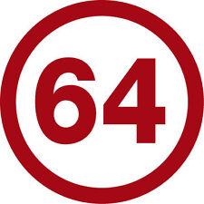 Stickers 64  en 15x15 cm  Autocollant rond numeros 64