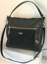 Kate Spade Black Mixed Leather/Embossed Hobo w/Crossbody Strap GUC