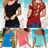 Womens Summer Cold Shoulder Tops Short Sleeve T-Shirt Blouse Hollow Casual Tee