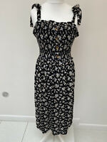 NEW NEXT Size 14 Black Beachwear Summer Midi Dress Strappy Floral Slit Floaty