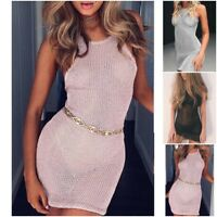 Women Cover Up Summer Lace Crochet Bikini Swimwear Beach Dress Bathing Suit UK