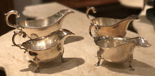 More details for set of 4 silver plate graduating sauce boats