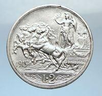 1915 ITALY King Victor Emmanuel III HORSES Silver Italian 2 Lire Coin i73822