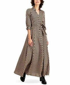 INC Womens Shirt Dress Brown Size 12 Geometric Printed Maxi Tie Belted $119 285