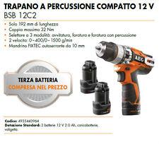 TRAPANO AVVITATORE A PERCUSSIONE COMPATTO 12V AEG BSB12C2 2.0Ah LED - 3 BATTERIE