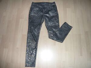 Summum Hose Jeans Leo Animal Print Gr. 42 grau silber gold metallic look