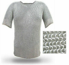 ALUMINIUM CHAIN MAIL SHIRT BUTTED MEDIEVAL HAUBERGEON ARMOR COSTUMES CHAIN