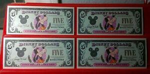 Disney Dollars 4 Consecutive 1993 Five Dollar GOOFY Crisp Uncirculated