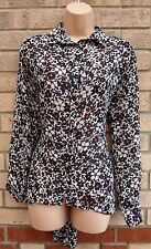 PRIMARK WHITE BLACK ORANGE FLORAL LONG SLEEVE BUTTONED BAGGY BLOUSE TOP 8 S