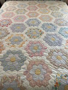 OMG Vintage Handmade Feed Sack Grandmothers Flower Garden Hand Quilted Quilt #27