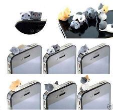 Mini 3D Cat Mobile Phone Earcap Earphone Stopper Anti Jack Dust Plug Cover 3.5mm