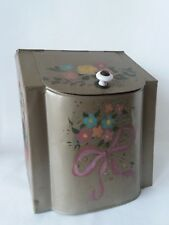 "Green Painted Floral Tin Kitchen Counter Canister Lid and Handle 9"" x 7 1/2"""