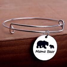 Expandable Mama Bear Charm Bangle Bracelet