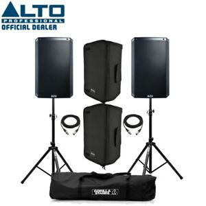 """Alto TS315 Active 15"""" DJ Disco PA Speaker (Pair) with Covers, Stands & Cables"""
