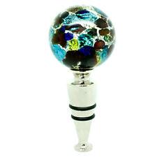 Murano Glass Bottle Stopper Silver Light Blue Red Authentic Wine Prosecco Venice