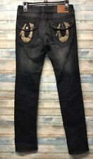 True Religion Jeans 26 x 33  Gold foil Horseshoe Straight leg Stretch    (e-57)