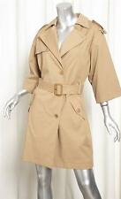 GERARD DAREL Womens Khaki Cotton Twill Belted Trench Jacket Coat 36/S NEW