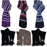 New Mens Womens Unisex Knitted Stripe Plain Winter Scarf Lightweight Neck Warmer