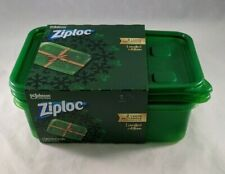 Ziploc 2 Large Rectangle Containers & Lids Green Limited Edition Food Storage
