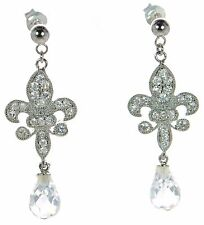 Solid 925 Sterling Silver Fleur-de-lis CZ Drop Earrings '
