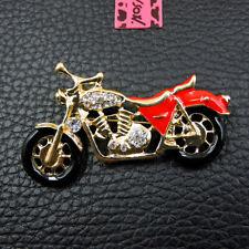 New Red Enamel Cute Motorbike Crystal Betsey Johnson Charm Brooch Pin Gifts