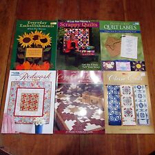 Lot of 6 Quilting Patchwoork Craft Books Redwork Embellishments Labels Scrappy