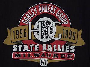 1996 Harley Davidson Milwaukee, WI Men's Size L Large State Rally Biker Shirt
