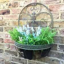 Antique French Vintage Style Metal Garden Wall Planter Pot Holder Basket & Liner