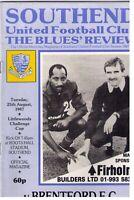 Football Programme – Southend  v Brentford F.C  25th Aug 1987