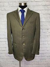 $995 Pal Zileri Mens Brown Herringbone Italian Canvassed Sport Coat Blazer 40R