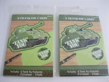 New! Lot Of 2 Packs Tank Camo Military Thank You Card Kits - 8 Per Pack-16 Total