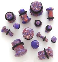 1 Pair Organic Stone Single Flare Ear Plug Gauges Pink/Purple Agate You Pick