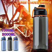 Large Capacity Outdoor Sport Water Bottle Brop Drop Plastic Fitness Straw 1.5/2L