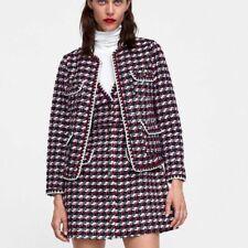 ZARA AZUL MARINO/ROJO TWEED Delantal Con Textura Vestido Con Adornos Talla S UK 8 BNWT